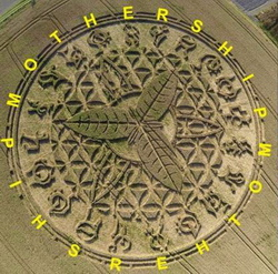 The Ansty crop circle with the letters that correspond to the signs